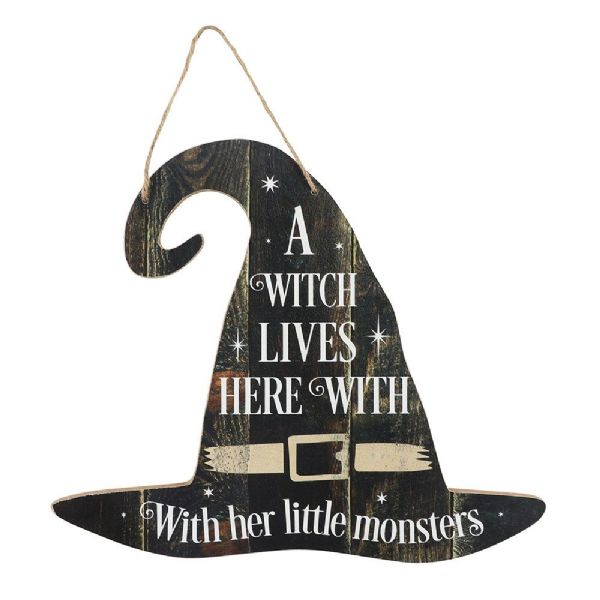 A WITCH LIVES HERE Hanging Wall Plaque / Sign